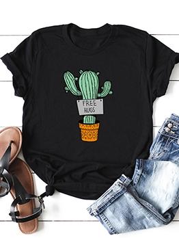 Cactus Print Short Sleeve Women Tee Shirts