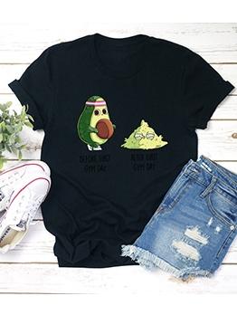 Crew Neck Avocado Print Cute T Shirts
