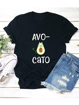 Avocado Print Short Sleeve Cheap T Shirts