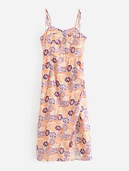 Vintage Flower Printed Slip Summer Dresses