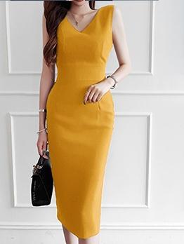 Summer Sleeveless Yellow Sheath Dress