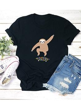 Sloth Printed Short Sleeve Funny T Shirts