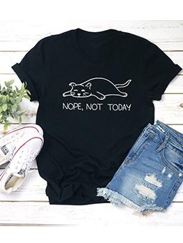 Lazy Cat Print Short Sleeve Ladies T Shirts
