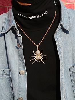 Full Rhinestone Shiny Spider Pendant Unisex Necklace