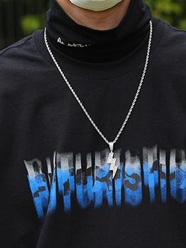 Lightning Shape New Arrival Hip Hop Pendant Necklace
