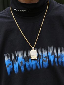 Square Pendant Glitter Rhinestone Men Chain Necklace