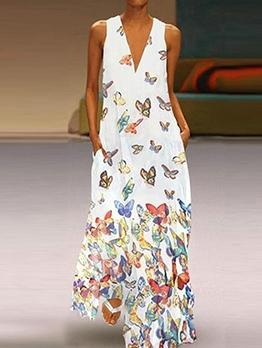 Butterfly Print V Neck Plus Size Maxi Dress