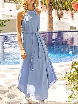 Solid Chiffon Irregular Hem Maxi Dresses