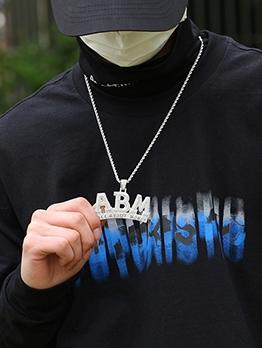 ABM Letter Design Full Rhinestone Copper Pendant Necklace