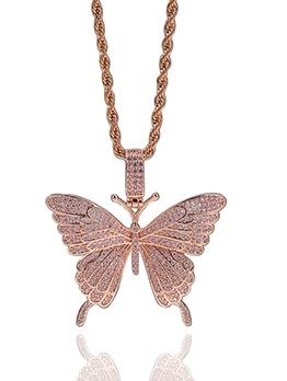 Butterfly Rhinestone Twist Chain Shining Pendant Necklace