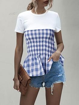 Elastic Waist Plaid Short Sleeve T-Shirt For Women