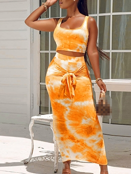 Summer Tie Dye Sleeveless Crop Top And Maxi Skirt Set
