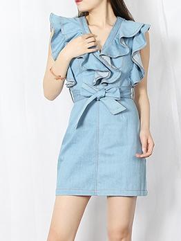 Chic V Neck Ruffled Denim Dress