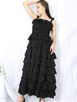 Bow Decor Tiered Ruffled Sleeveless Boutique Maxi Dress