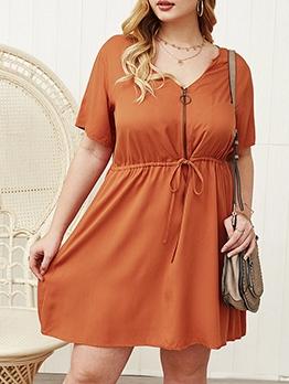 V Neck Solid Short Sleeve Summer Dresses