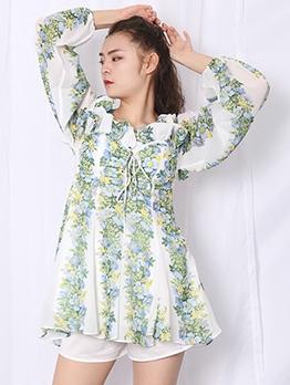 Ruffled Cold Shoulder Boutique Floral Short Dress