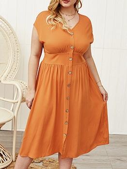 V Neck Single-Breasted Plus Size Midi Dresses