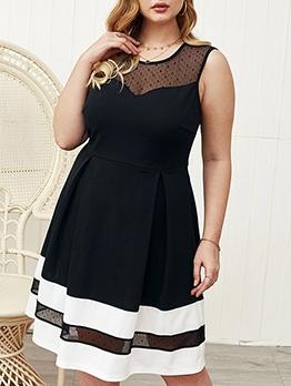 Gauze Patchwork Color Block Plus Size Dresses
