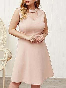 Choker Neck Solid Sleeveless Dress