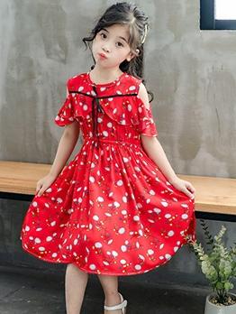 Elastic Waist Off Shoulder Print Dress For Girl Casual