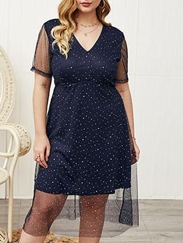 Dots Gauze Patchwork Plus Size Dresses