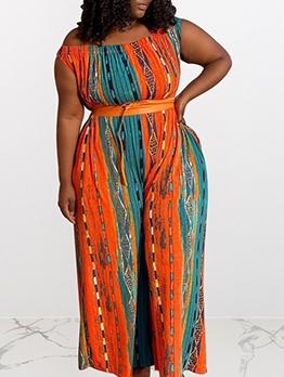 Contrast Color Striped Plus Size Jumpsuits