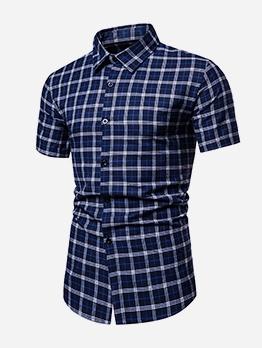 Casual Style Short Sleeve Plaid Shirt