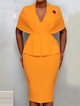 OL Style Solid Women Bodycon Dress