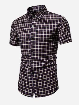 Casual Button Up Short Sleeve Plaid Shirt