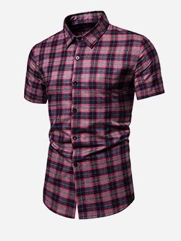 Turndown Collar Short Sleeve Plaid Shirts For Men