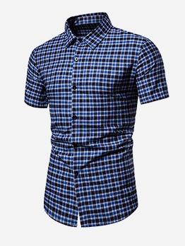 Slim Fit Short Sleeve Mens Plaid Shirt