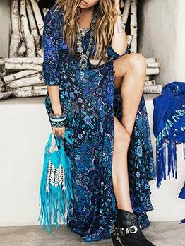V Neck Printed Half Sleeve Summer Maxi Dresses
