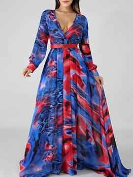 V Neck Print Large Hem Long Sleeve Maxi Dress
