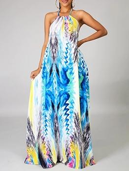 Print Backless Halterneck Maxi Dress For Vacation
