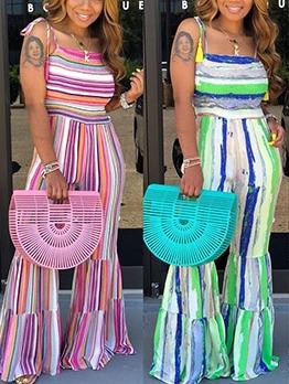 Colorful Elastic Waist Cami With High Waist Flare Pants