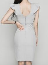 Ruffle Detail Gray Sleeveless Sheath Dress For Work