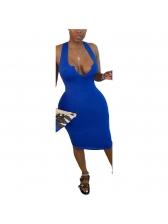 Knee Length V Neck Solid Color Sleeveless Dress