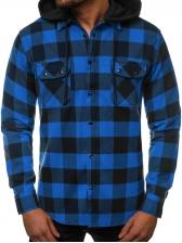 Chest Pockets Detachable Hooded Plaid Shirt