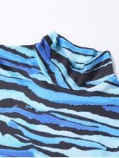 Contrast Color Print High Neck Long Sleeve Dress