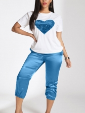 Sequined Heart Short Sleeve Two Piece Pants Set