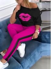 Lips Print Contrast Color Two Piece Pants Set