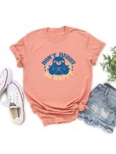 Letter Sloth Print Crew Neck Tee Shirts