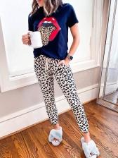 Fashion Leopard Print Two Piece Pants Set