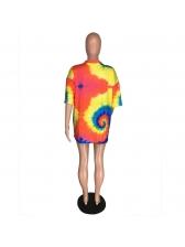 Casual Short Sleeve Tie Dye Long T Shirt