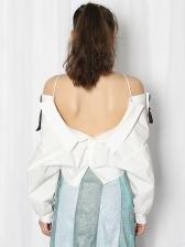 Chic Design Bow Decor Irregular Long Sleeve Blouse