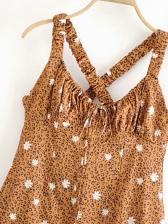 Leopard Daisy Printed Sleeveless Dress
