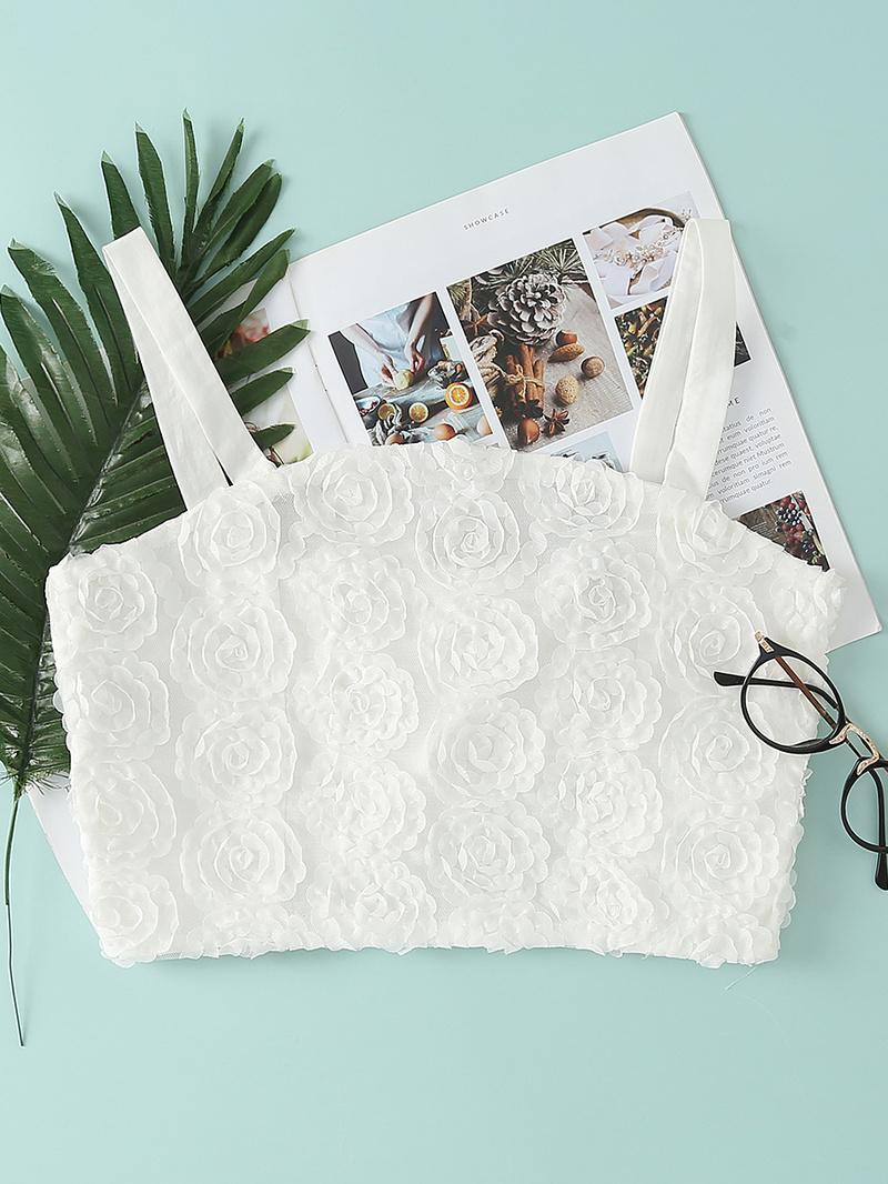 Elastic Flower Textured White Summer Camisole
