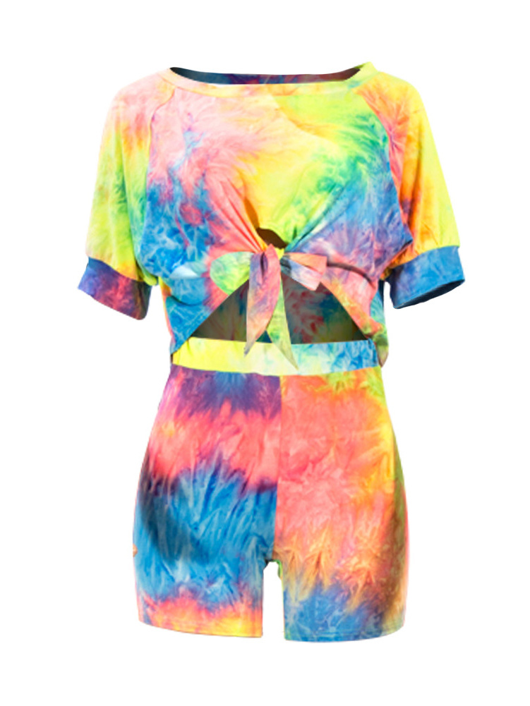 Rainbow Color Tie Dye Two Piece Shorts Set
