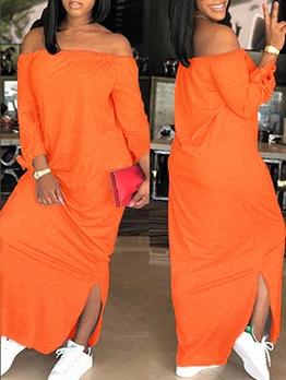 Split Hem Long Sleeve Off Shoulder Maxi Dress