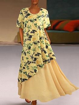 Large Hem Patchwork Printed Plus Size Maxi Dress